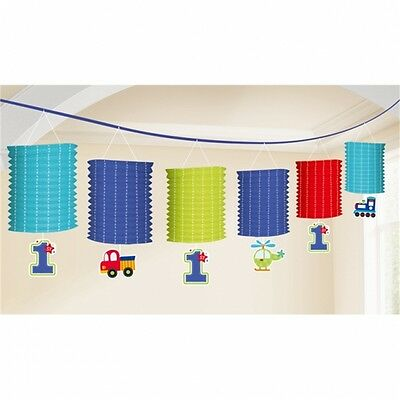 Amscan All Aboard 1st Birthday Boy - Lantern Garland - Party Blue Paper Boys