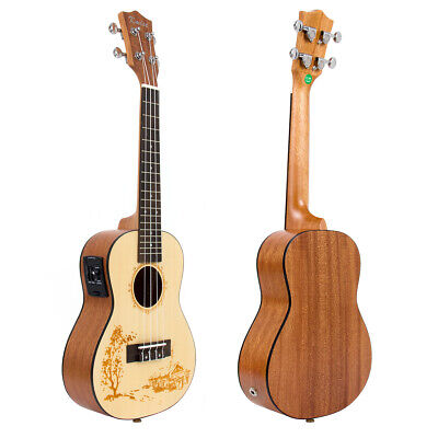 23 Inch Solid Spruce Electric Acoustic Concert Ukulele Hawaiian Guitar Kmise