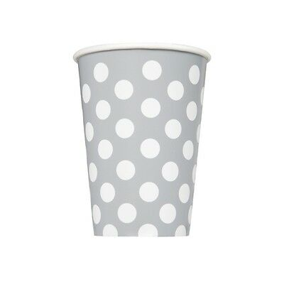 12oz Silver Polka Dot Paper Cups, Pack Of 6
