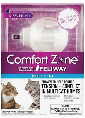 Comfort Zone Feliway Multicat Diffuser, 48ml Starter Kit w/ 1 Month Supply