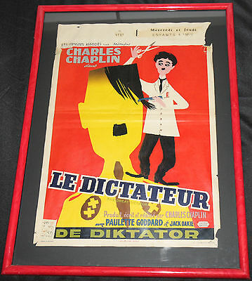 1940s THE GREAT DICTATOR French Movie Poster Framed Stamped Charlie Chaplin