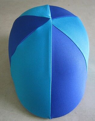 Horse Helmet Cover ALL AUSTRALIAN MADE Royal & Sky/aqua blue Any size you need