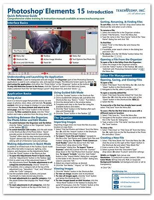 Photoshop Elements 15 Introductory Training Guide Quick Reference Cheat Sheet