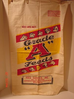 Vintage 100 Lbs Seed Feed Bag Advertising Grade A Feeds Milwaukee Wisconsin Farm