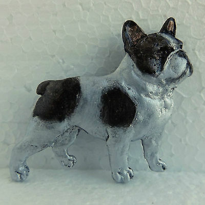French Bulldog Brindle White Pied Brooch Handpainted Dog Breed Jewellery Resin