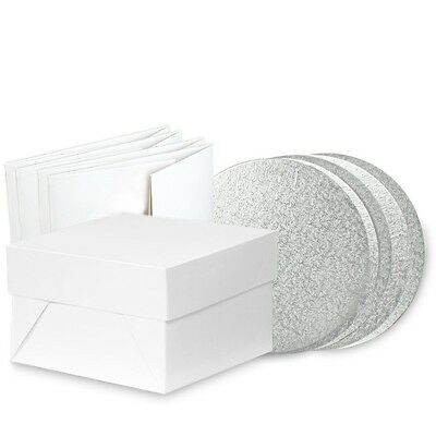 """Pack of 5  Round 12 """" cake board drum and box    FAST DESPATCH"""