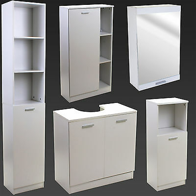 Bathroom Storage Cupboard Unit Cabinet Shelves Under Sink Basin White Furniture