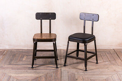 Industrial Style Bar Chair Metal Cafe Chairs With Upholstered Or Wooden Seat