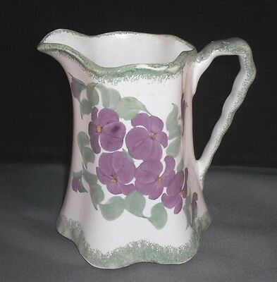 CLINCHFIELD ARTWARE Buttermilk pitcher VIOLETS Hand Painted Erwin Tenn
