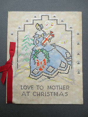 Vintage CHRISTMAS Card CRINOLINE LADY Parchment LOVE TO MOTHER 1930s