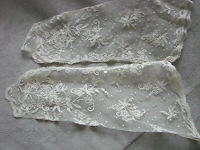 Vintage Edwardian Gloves Fingerless Gauntlets TAMBOUR  LACE mitts  BRIDAL NOS