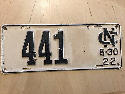 "Rare! 1922 North Carolina  3 Digit  Auto License Plate  "" 441 "" Nc 22 Low Number"