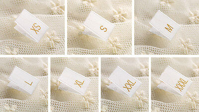 100 Gold Text White Clothing Garment Sizes Woven Labels - S, M, L