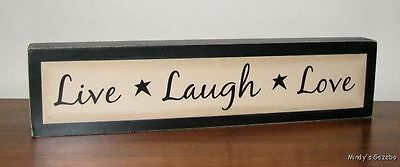 Primitive Rustic Ivory Wood Live Laugh Love Block Sign Handmade Home Decor 2555a