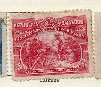 Salvador 1894 Early Issue Fine Mint Hinged $5. 126332