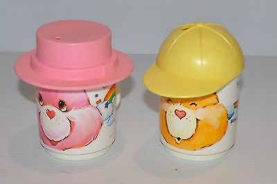- lot of 2 CARE BEARS Plastic MUGS with HATS Deka 1980s Funshine, Cheer -