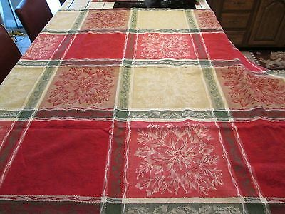"Damask Tablecloth 52"" x 52""  Washable Christmas Poinsettia W/GOLD Thread"