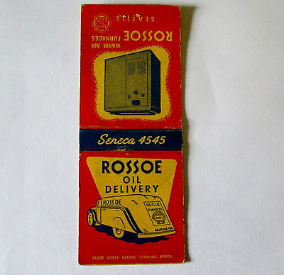Vintage 1950's Advertising Matchbook Rossoe Oil Delivery Shell Oil Seattle Wash