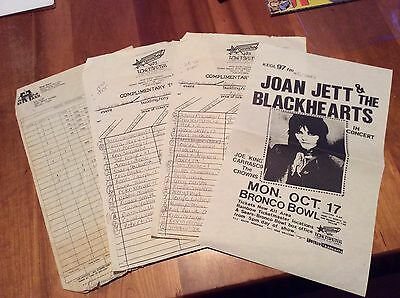 JOAN JETT AND THE BLACKHEARTS: Vintage Tour Flyer, Guest Lists...