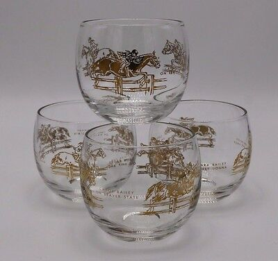 Set (4) BAILEY Family Horse Jumping Equestrian Gold Stemless Wine Whiskey Glass