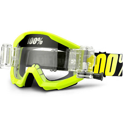 New 100% Strata Mud Roll Off Motocross Goggles Neon Yellow Svs Clear Lens