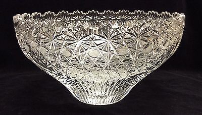 "Irena Serving Bowl with Starburst Design 24% Lead Crystal Hand Cut Glass 9"" D"