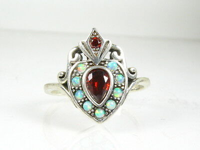 .25ct Natural Garnet and Opal Victorian Deco Sterling Silver Filigree Ring 111a