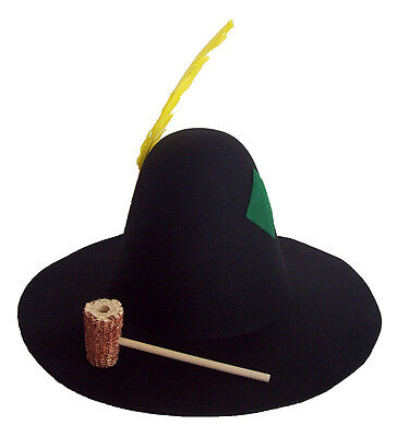 Hillbilly Patch Feather Black Corncob Pipe Hobo Bum Hat