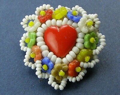 Antique Heart Beaded Flower Czech Glass Brooch Pin VGC
