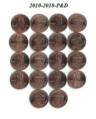 Complete 2010-2018 P&d Uncirculated Lincoln Shield Cent Penny Set