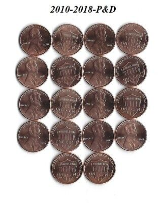 Complete Set 2010-2017-P&d Uncirculated Lincoln Shield Cents