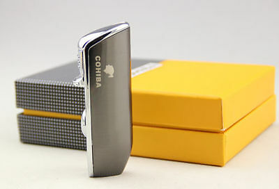 Triple Torch Cohiba Gunmetal/Chrome Lighter W/Punch Shipped Fast From Usa ""
