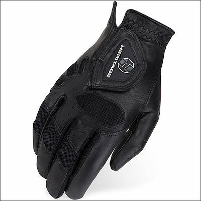 6 Size Heritage Tackified Pro-Air Show Riding Gloves Horse Equestrian Black