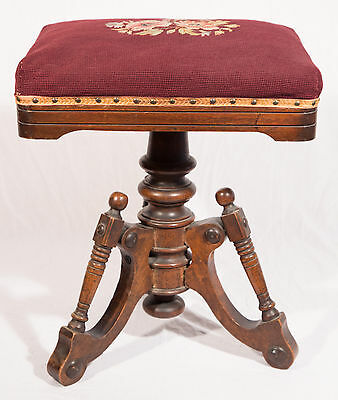 1873 Antique Swivel Stool with Burgundy Needlepoint Cushion
