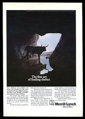 1979 Merrill Lynch investments bull in cave color photo vintage print ad