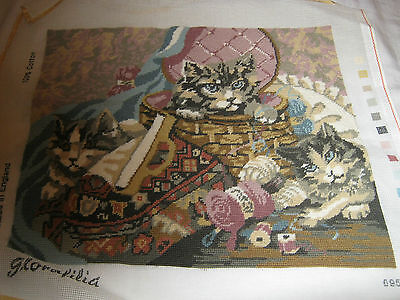 Vintage Needlepoint Tapestry Kittens At Play