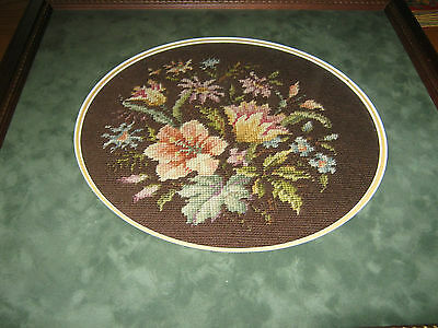 Framed  Needlepoint Tapestry Day Lillies