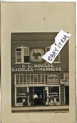 1905 RPPC real photo post card C L ROGERS Stamford Texas SADDLE MAKER Saddlery