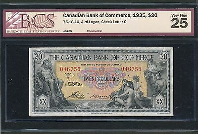 1935 $20 Bank of Commerce BCS VF-25. 75-18-10 Aird-Logan. Check Letter C.