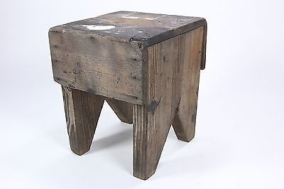 Primitive Foot Stool Vintage Rustic Chunky Wood Hand Made Milking Seat