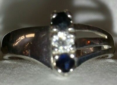 Sterling  Blue & Clear Stone Ring