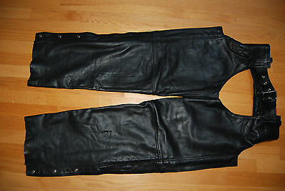 New Black Thick Leather GP RIDERS Motorcycle Chaps Man's Medium