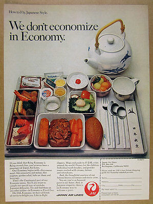 1973 JAL Japan Air Lines economy class meal food tray photo vintage print Ad