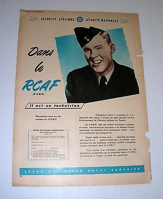 Vintage RCAF French tabloid advertising WWII Canada Technician CARC military