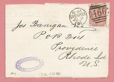 Gb #79 Victoria On 1881 F/l Indiarubber Liverpool To Usa 3
