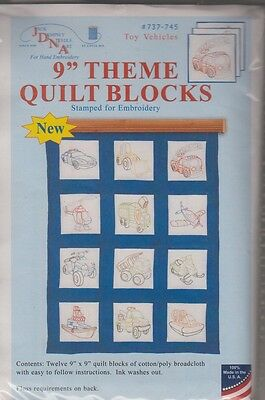 """1 pack Jack Dempsey """"Toy Vehicles"""" Stamped Embroidery  Quilt Blocks"""