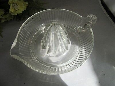 Vtg clear pressed glass juice reamer.Great for lemons,limes,oranges!