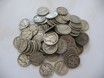 $5.00 Face 90% Mercury Silver Dimes 1930S &1940S  Mixed Roll Coins Barter Ins
