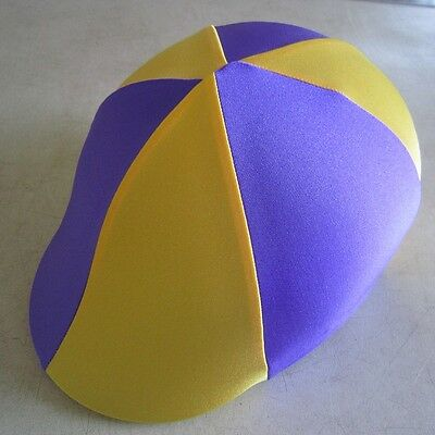 Horse Helmet Cover ALL AUSTRALIAN MADE Purple & Yellow Any size you need