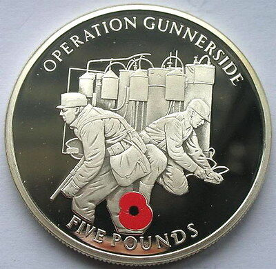 Gibraltar 2004 Operation Gunnerside 5 Pounds Silver Coin,Proof